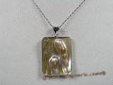 sp045 18KGP 35*46mm square oyster shell pendant with pearl inside