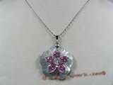 sp048 flower design mohter of pearl shell pendant with zircon beads