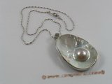 sp070 Silver 35*55mm mabe pearl pendant with a pearl inside