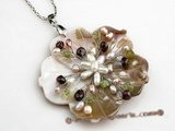 sp088 Carve flower shell pendant with freshwater pearl in wholesale