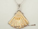 sp093 Fanlike design white mother of pearl shell pendant in low price