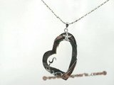 sp095 Fashion black sea shell pendant neckace in heart shape design