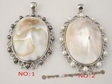 sp100 Nature 40*50mm white oval mother of pearl pendant with bread pearl