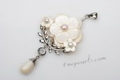 sp102 Nature pink 30mm carve flower mother of pearl pendant in silver plated
