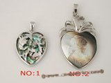 sp104 Silver Plated heart shape mother of pearl Design pendant necklace on sale