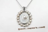 Sp150 45*50mm Oval Pattern Baroque Shell Pendant Necklace