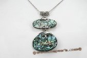 Sp152 Modern Silver toned Abalone Shell Pendant Necklace