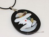 sp162  44*55mm lady wearing cap design mother of pearl shell pendant