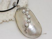 sp163 30*60mm oyster shell pendant inlay with freshwater pearl