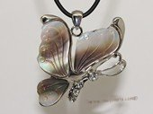 sp165  silver tone oyster shell pendant butterfly design