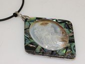 sp167  pretty girl cameo design mother of pearl shell pendant
