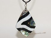 sp169  39*55mm rhombic pattern mother of pearl shell pendant necklace