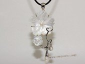sp170  silver tone oyster shell pendant flower design