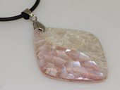 sp178    Oval shape pattern mother of pearl shell pendant necklace