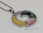sp183 Silver tone round design pendant necklace with mother of pearl