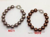 spbr007 Design 12mm round shell pearl bracelet in Bronze and coffee