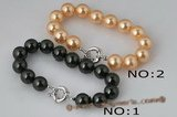 spbr008 Charming 12mm round shell pearl bracelet with spring ring clasp