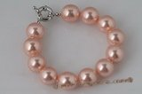 spbr011 Stylish hand-knotted 12mm shell pearl bracelet in peach color