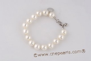spbr016 Hand knotted 10mm Shell Pearl Sterling Silver Bracelet