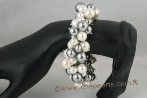 spbr018 Luxury White and Grey Shell Pearl Cluster Stretch Bracelet