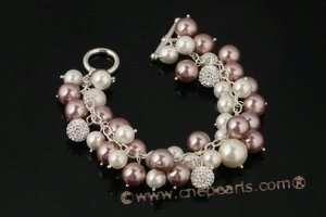 spbr019 Hand Wired Shell Pearl Charm Bracelet with Toggle Closure