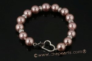 spbr020 Hand knoted Purple Shell Pearl Signle Bracelet
