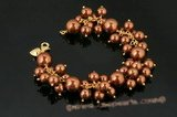 spbr021 Gorgeous Hand Wired Coffee color shell pearl cluster bracelet