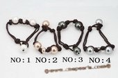 spbr028 Large Size Round Shell Pearl Braided Leather Bracelet