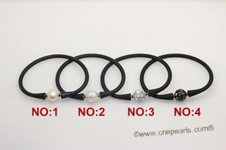 spbr030 Hand Knitted Black Leather Cord Bracelet