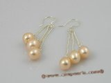 spe001 6*8mm pink tear-drop freshwater pearls sterling dangle earring