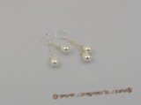 spe002 6*9mm white tear-drop shell pearls sterling dangle earring with 925 silver hook