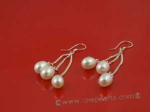 spe013 6*8mm white tear-drop freshwater pearls sterling dangle earring