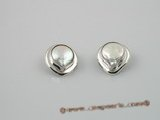 spe014 12-13mm white coin shape freshwater pearl Sterling Silver Clip Earrings