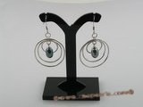 spe019 multi-hoop sterling silver and black rice pearl dangle earrings