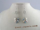 spe021 Sterling Silver multi-color 6*8mm tear-drop pearl Dangles  earrings