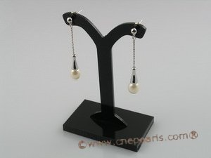 spe022 925 silver rice shape freshwater Pearl Dangles Earrings
