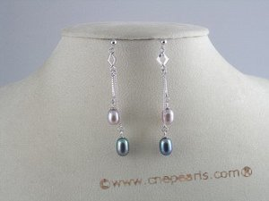 spe032 925 silver multi color rice shape Pearl Dangles Bridal Earrings