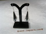 spe033 Elongated Teardrop black Pearl sterling silver dangle Earrings
