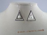 spe034 Sterling Silver Double Elongated Triangle Hoop pearl  dangle Earring