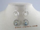 spe035 multi-hoop sterling silver and rice pearl dangle earrings