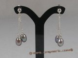 spe039 sterling silver and purple cultured pearl dangle earrings
