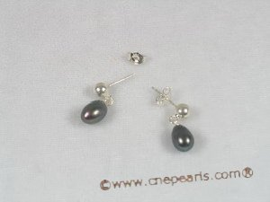 spe040 Black cultured pearl sterling stud earrings for wholesale