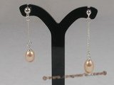 spe041 sterling single row dangle earrings with cultured pearl