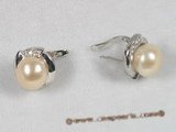 spe066 Sterling pierce clip earrings with pink bread pearl
