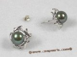 spe068 sterling green breads pearl studs earrings with sterling tray