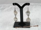 spe093 Sterling white coin pearl dangle earrings