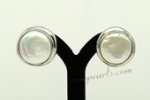 spe094 Sterling 12-13mm white coin pearl clip earrings