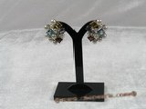 spe098 Sterling semiprecious gemstone and seed pearl clip earrings