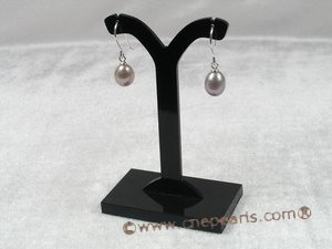 spe101 Sterling 8-9mm purple rain drop pearl dangle earrings