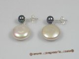 spe106 Sterling 12-13mm white coin shape pearl studs earrings